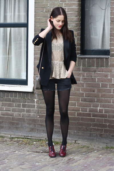 black tuxedo Mango blazer - gray old shorts