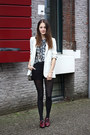 White-tuxedo-river-island-jacket-heather-gray-quilted-mango-bag