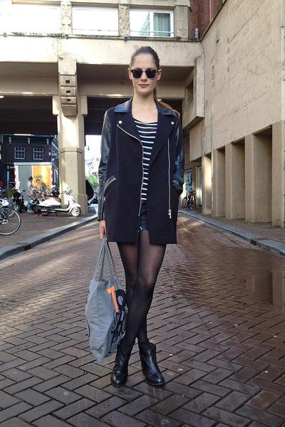 black moto River Island jacket - black ankle vagabond boots