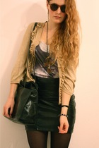 black leather H&M skirt - gold H&M jacket - black croc vintage purse