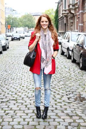 pink floral scarf vintage scarf - black wedge boots Wedins shoes