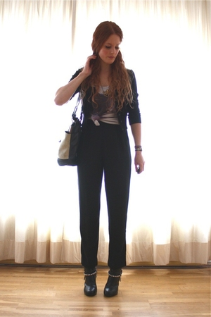 black H&M cardigan - gray Bershka top - black vintage pants - gray vintage purse