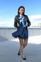 na jacket - polka dot dress olsenboye dress - floral scarf Aeropostale scarf