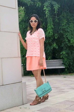 white H&M shirt - light pink dropwaist Forever21 dress