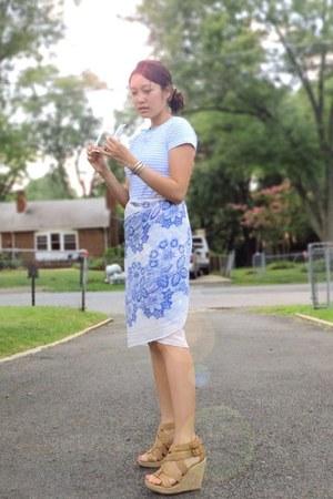 as skirt Forever21 scarf - blue striped Forever21 shirt