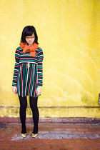 yuko dress - orange Mango cardigan - black leggings - Paris Kids necklace - rubi