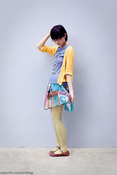 Hurs t-shirt - miss sixties skirt - yellow cardigan - 3dots leggings - TrendyZon