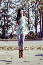 light brown zippered top shoes boots - aquamarine Forever 21 dress