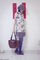 miss sixties hat - blouse - skirt - Dorothy Perkins leggings - shoes - bag