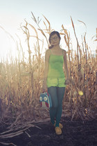 teal top20 leggings - lime green dyed Forever21 shorts