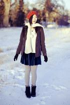 red beret parkhurst hat - black mens fila boots - blue velvet cotton on dress