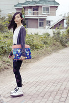 blue Fossil bag - white Dr Martens boots - black bow mesh romwe leggings