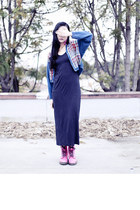 hot pink Dr Martens boots - navy maxi Forever 21 dress