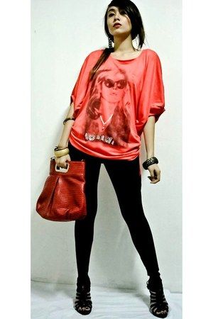 black cinderella leggings - red thrifted bag - salmon unknown top