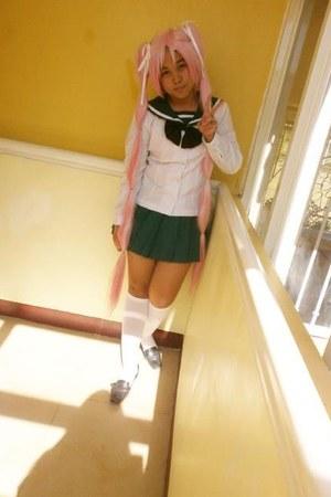 cream Dickies socks - white custom made blouse - green custom made skirt