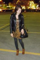 black zellers jacket - yellow H&M dress - gray ardenes tights - brown Aldo shoes