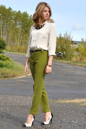 Zara blouse - drafted pattern Self Made pants - cream-black Zellers & DIY pumps