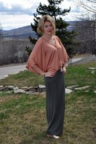 salmon cape top H&M cape - olive green maxi DIY skirt - gold Nine West wedges