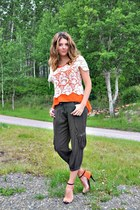 ivory lace  blouse - orange Self Made blouse - army green Suzy Shier pants