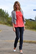 silver BCBG pumps - blue Gap jeans - heather gray snake print Dynamite cardigan