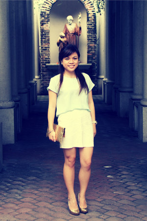 gold michael antonio pumps - white Forever 21 skirt - Thailand Market blouse