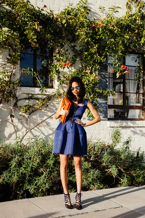 blue Maje dress - burnt orange Rebecca Minkoff purse - Zara heels