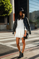 black studded Anine Bing boots - white Derek Lam dress