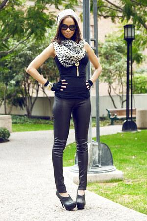 Prada sunglasses - Club Monaco hat - leather Helmut Lang leggings - J Crew scarf