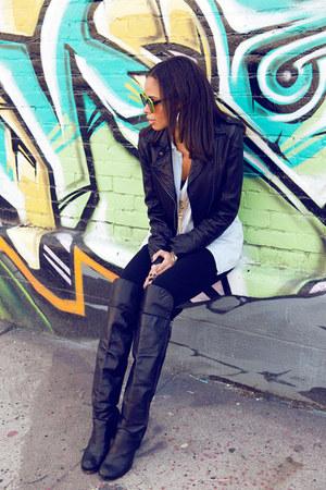 Aqua jacket - Modern Vintage boots - Zara leggings - madewell shirt
