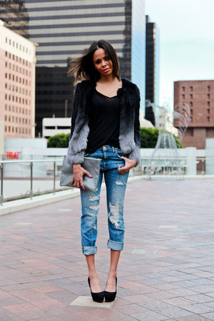 Yves Salomon coat - Zara jeans - black All Saints t-shirt
