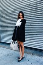 black Zara cape - blue One Teaspoon shorts - black studded Valentino flats