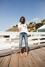 Red-zara-heels-blue-current-elliot-jeans-ray-ban-sunglasses