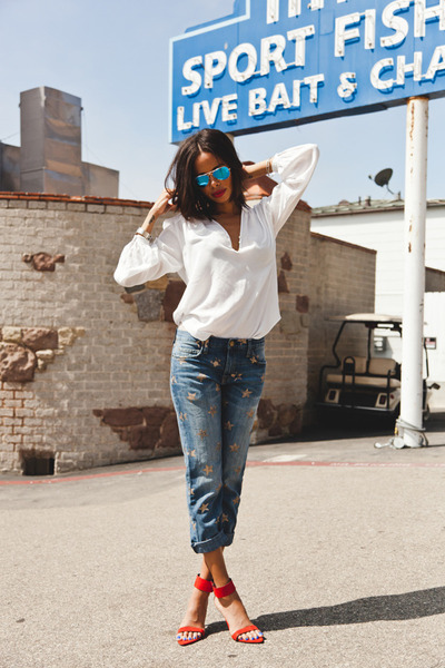 red Zara heels - blue Current Elliot jeans - Ray Ban sunglasses