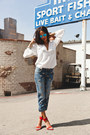 Blue-current-elliot-jeans-ray-ban-sunglasses-white-zara-blouse