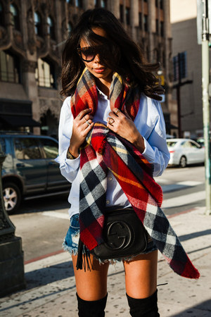 brick red Zara scarf - black stuart weitzman boots - blue One Teaspoon shorts