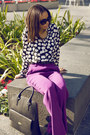 J-crew-bag-prada-sunglasses-alice-olivia-pants-equipment-blouse