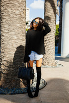 black stuart weitzman boots - black Zara sweater - black Givenchy bag