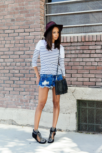 blue One Teaspoon shorts - black Isabel Marant boots - crimson Topshop hat