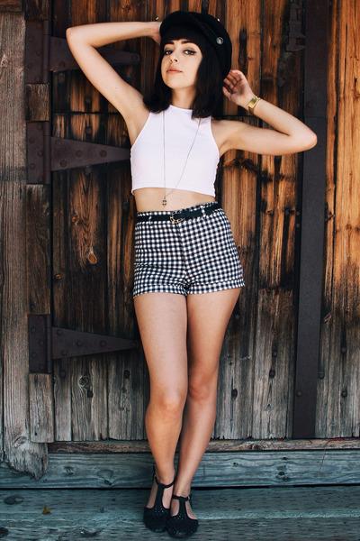 black H&M hat - black H&M shorts - white H&M top