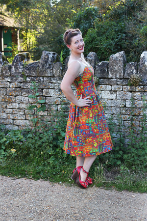 orange vintage dress - red Rocket Dog sandals