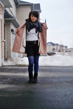 Gap coat - Wal Mart boots - Smart Set stockings - American Apparel scarf - Asian