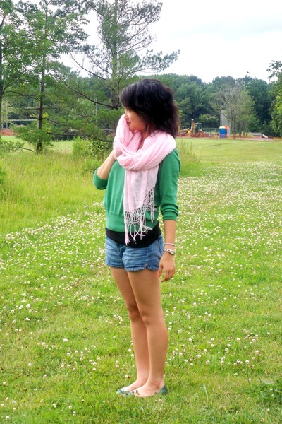 green H&M sweater - green Old Navy shoes - pink H&M scarf - blue Forgot shorts