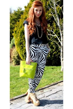 zebra print pants - neon bag - glitter litas heels