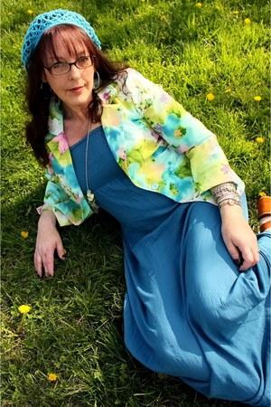 chartreuse vintage blazer - blue maxi strapless Forever 21 dress