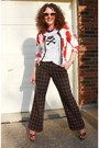 Red-black-plaid-limited-pants-diy-t-shirt-platform-floral-forever-21-sandals