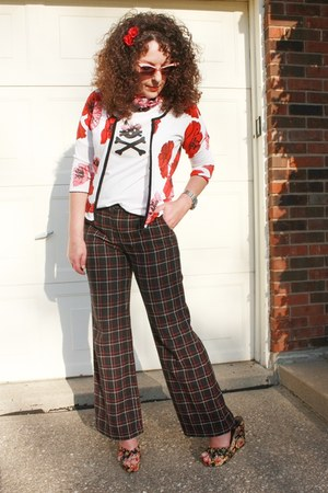 floral thrifted cardigan - DIY t-shirt - tweed plaid Limited pants