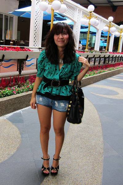 black Miu Miu bag - teal thrifted top - black Topshop belt - black Topshop heels