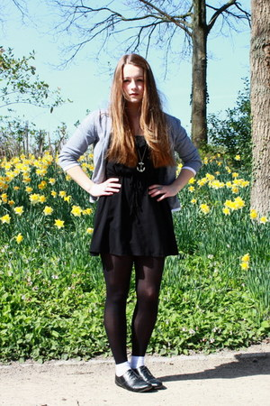 black H&M dress - blue H&M cardigan - black oxfords Primark flats
