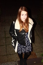 black H&M jacket - navy Zara dress - ivory Plastikgold bag - black Topshop boots