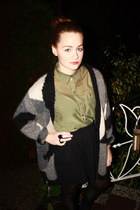olive green H&M blouse - heather gray Monki cardigan